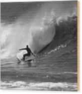 Black And White Surfer Wood Print by Paul Topp