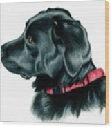 Black Lab With Red Collar Wood Print by Heather Mitchell