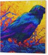Black Onyx - Raven Wood Print by Marion Rose