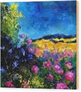Blue And Pink Flowers Wood Print by Pol Ledent