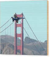 Blue Angels Crossing The Golden Gate Bridge 3 Wood Print by Wingsdomain Art and Photography