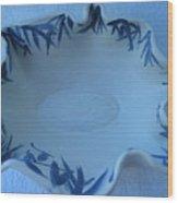 Blue Bamboo Bowl Wood Print by Julia Van Dine