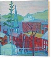 Blue Burlington Wood Print by Debra Robinson