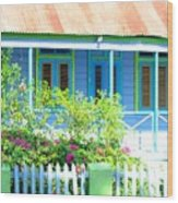 Blue Chattel House Wood Print by Barbara Marcus