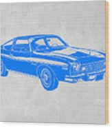 Blue Muscle Car Wood Print by Naxart Studio