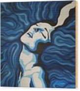 Blue Shimmers Wood Print by Jindra Noewi