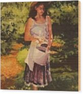Blueberry Girl Wood Print by Elizabeth Carr
