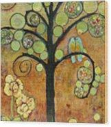 Bluebirds In Paradise Tree Wood Print by Blenda Studio