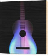 Blues Guitar On Fire Wood Print by Andy Smy