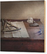 Boat - The Joy Of Sextant Wood Print by Mike Savad