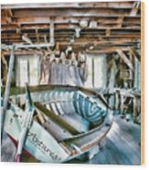 Boathouse Wood Print by Heather Applegate