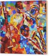 Bold Jazz Quartet Wood Print by Debra Hurd