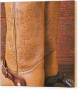 Boots With Spurs Wood Print by Garry Gay