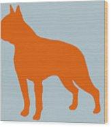 Boston Terrier Orange Wood Print by Naxart Studio