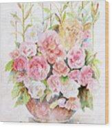 Bowl Full Of Roses Wood Print by Arline Wagner