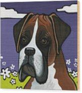 Boxer Wood Print by Leanne Wilkes