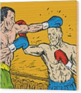 Boxer Punching Wood Print by Aloysius Patrimonio