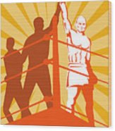Boxing Champion Wood Print by Aloysius Patrimonio