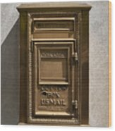 Brass Mail Box Nyc Wood Print by Robert Ullmann