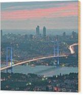 Bridge Over Bosphrous Wood Print by Salvator Barki