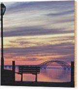 Bridge Reflection Wood Print by Vicki Jauron