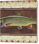 Brook Trout Lodge Wood Print by JQ Licensing