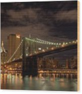 Brooklyn Bridge At Dusk Wood Print by Shawn Everhart
