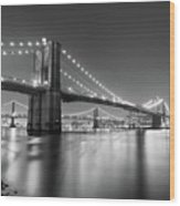 Brooklyn Bridge At Night Wood Print by Adam Garelick
