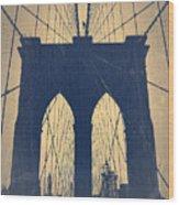 Brooklyn Bridge Blue Wood Print by Naxart Studio