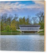 Brownsville Covered Bridge Wood Print by Jack R Perry