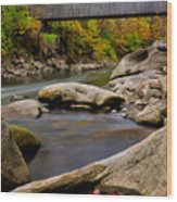 Bulls Bridge - Autumn Scene Wood Print by Thomas Schoeller