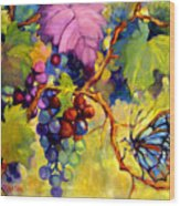 Butterfly And Grapes Wood Print by Peggy Wilson