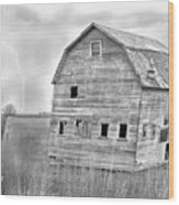 Bw Rustic Barn Lightning Strike Fine Art Photo Wood Print by James BO  Insogna