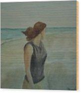 By The Sea Wood Print by Sheila Mashaw