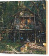 Cabin Fever Watercolor Wood Print by Joseph G Holland