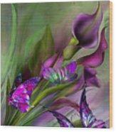 Calla Lilies Wood Print by Carol Cavalaris