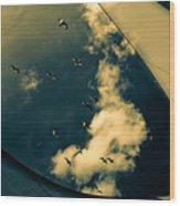 Canvas Seagulls Wood Print by Bob Orsillo