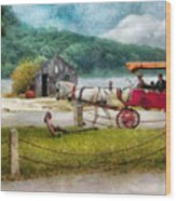 Car - Wagon - Traveling In Style Wood Print by Mike Savad