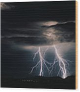 Carefree Lightning Wood Print by Cathy Franklin