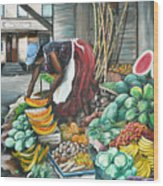 Caribbean Market Day Wood Print by Karin  Dawn Kelshall- Best