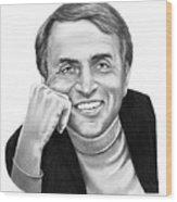 Carl Sagan Wood Print by Murphy Elliott