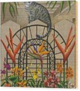 Cat Cheetah's Fence Wood Print by Carol Wilson
