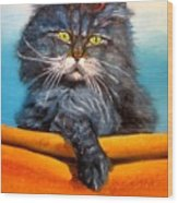 Cat.go To Swim.original Oil Painting Wood Print by Natalja Picugina