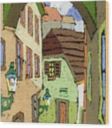 Cesky Krumlov Masna Street Wood Print by Yuriy  Shevchuk