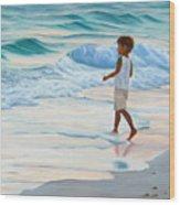 Chasing The Waves Wood Print by Lea Novak
