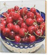 Cherries In Blue Bowl Wood Print by Carol Groenen