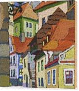Chesky Krumlov Masna Street 1 Wood Print by Yuriy  Shevchuk