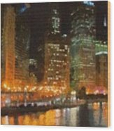 Chicago At Night Wood Print by Jeff Kolker