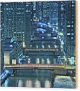Chicago Bridges Wood Print by Steve Gadomski