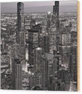 Chicago Loop Sundown B And W Wood Print by Steve Gadomski
